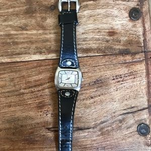 Kenneth Cole Reaction black leather watch
